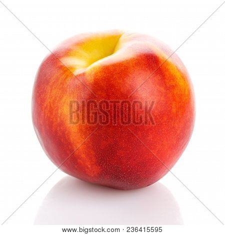 Single Red Peach Fruit Isolated On White Background. One Peach.