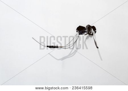 Unfinished Electrical  Mains Outlet Socket  With Electrical Wires With Black Adhesive Tape Installed