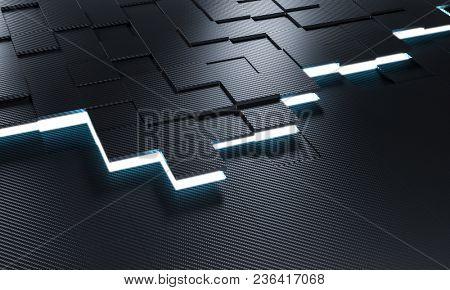 carbon fiber tile background and lights 3d rendering image