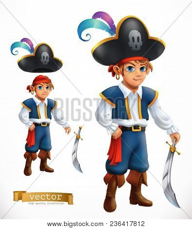 Boy Pirate. 3d Vector Icon On White Background