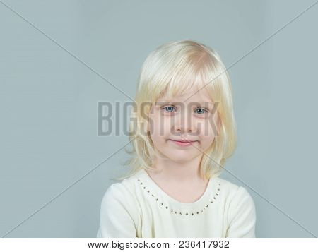 Little Girl With Young Tender Skin. Fashion Style And Beauty Look. Kid With Blonde Hair. Childhood A