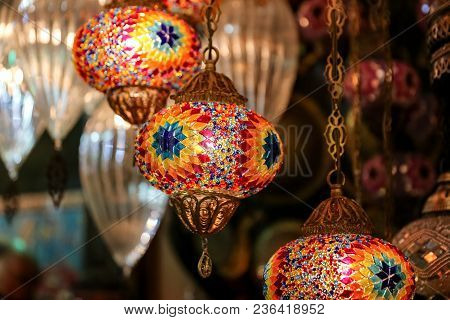 Colorful Turkish Laterns in Grand Bazaar, Istanbul, Turkey poster