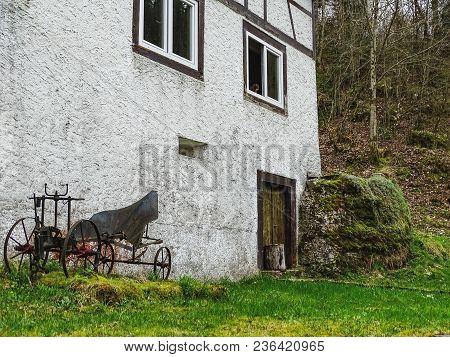 Old House Near Saut Du Doubs Waterfall In The Region Of Doubs Switzerland