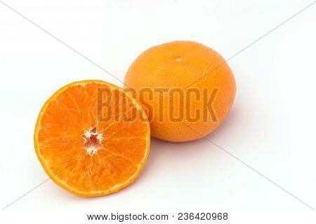 Orange Isolated On White Background, Orange Fruit Slice Isolated, Orange Cut Half On Background, Bea