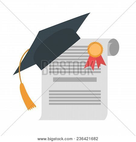 Graduation Diploma And Hat On White Baackground.