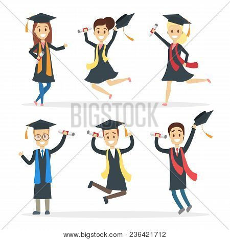 Graduated Students Set. Jumping Happy People With Diploma.