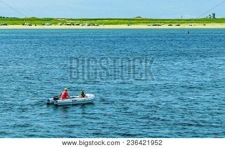Provincetown, Cape Cod, Massachusetts, Us - August 15, 2017 Small Boat And His Crew Looking For A Wh
