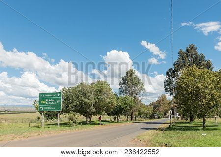 Fouriesburg, South Africa - March 12, 2018: A Directional Road Sign At Fouriesburg In The Free State
