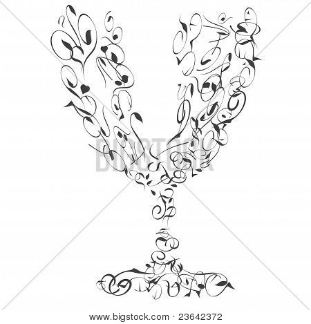 The stylized wine glass abstract curves