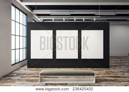 Modern Exhibition Hall With Empty Banner And Bench. Window With City View. Gallery, Art, Exhibit And