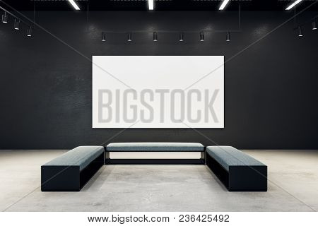 Contemporary Exhibition Hall With Empty Banner And Bench. Gallery, Art, Exhibit And Museum Concept.