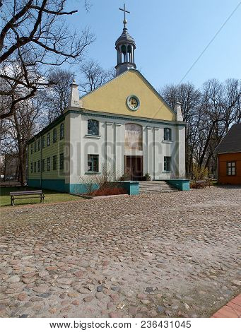 Church From The Open-air Museum. Lodz, Poland - April 10, 2018 Wooden Church Historic Architecture O
