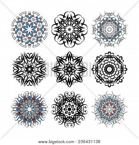 Set Of Vector Ornate Mandalas For Coloring Book. Collection Of Decorative Round Ornaments. Anti-stre