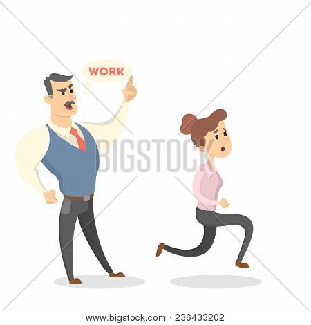 Angry Boss Shouting At Female Employee With Documents On White.
