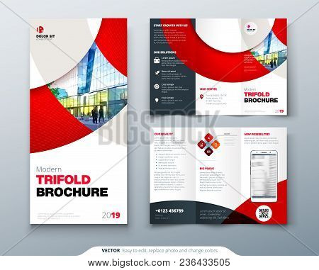 Tri Fold Brochure Design With Circle, Corporate Business Template For Tri Fold Flyer. Layout With Mo