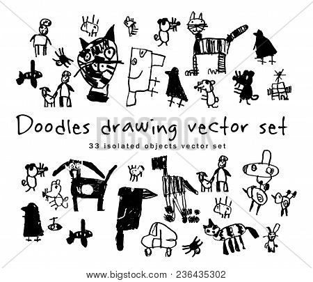 Doodles Drawing Set Isolated Objects Black And White. The Image Is Made Of Adults, Imitates Childlik