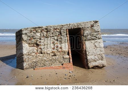 World War 2 Beach Defence Military Structure. Ruined Building On The Coast Of East Anglia Englannd U