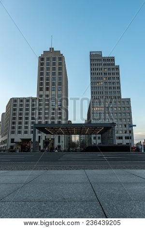 A View Of Two Modern Buildings At The Potsdamer Platz