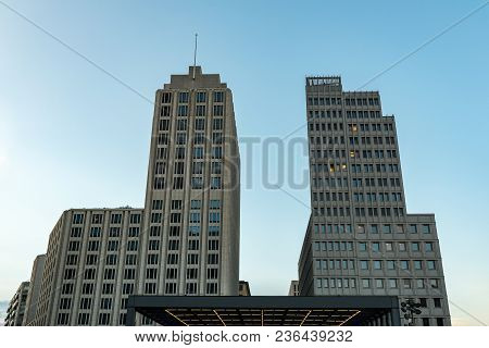 Two Modern Buildings At The Potsdamer Platz In Berlin