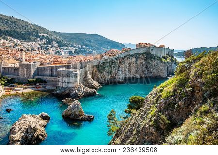 A Shot Of Dubrovnik, Croatia Old Town Walls And The Sea