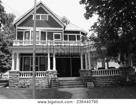 Black And White Photograph Of President Warren G. Harding Home And President Site, Marion, Oh, June