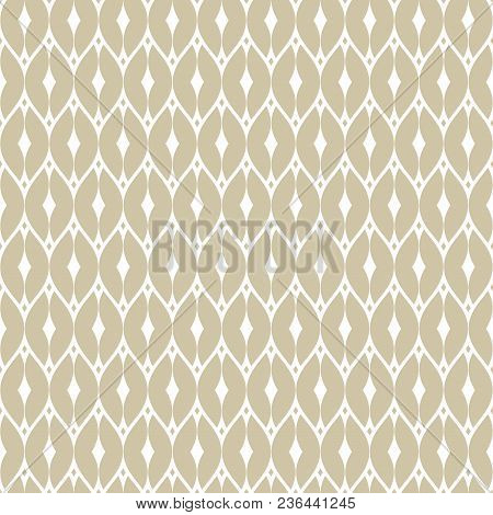 Elegant Vector Golden Mesh Seamless Pattern. Subtle Geometric Ornament Texture With Thin Curved Line