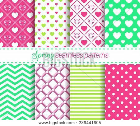 Vector Spring Seamless Patterns Collection. Soft Repeated Textures. Geometric Backgrounds Set. For C