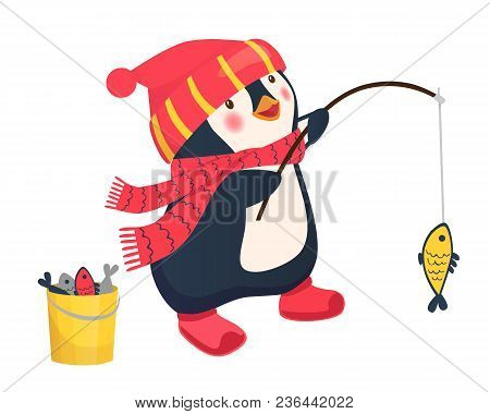 Penguin Fisherman Caught Fish. Cartoon Fisherman And Fish. Vector