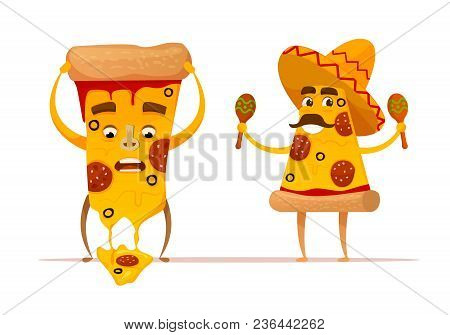 Funny Pizza Slices Characters.melting Cheese. Mexican Pizza. Flat Cartoon Style. Isolated Vector Ill