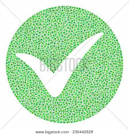 Apply Collage Of Round Dots In Variable Sizes And Color Tints. Circle Dots Are Combined Into Apply V