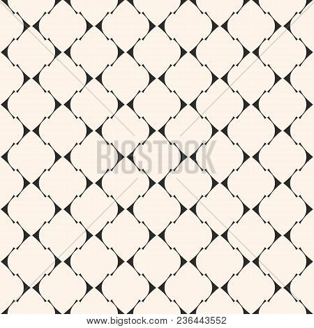 Art Deco Vector Seamless Pattern. Elegant Geometric Texture With Thin Curved Lines, Mesh, Lattice. S