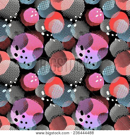 Seamless Repeating Textile Ink Brush Strokes Pattern In Doodle Grunge Texture Style.