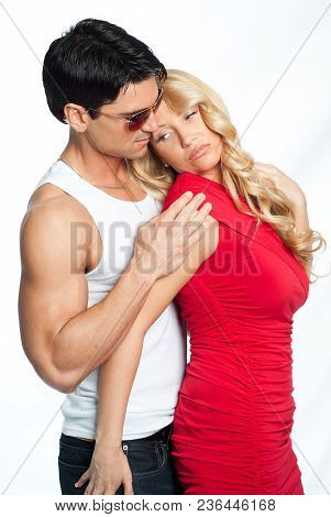 The Sexy Couple Poses For The Camera