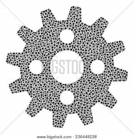 Cogwheel Mosaic Of Dots In Different Sizes And Color Hues. Small Circles Are Organized Into Cogwheel