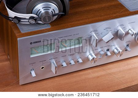Analog Audio Stereo System Amplifier Headphones Speaker Angled View from the Top