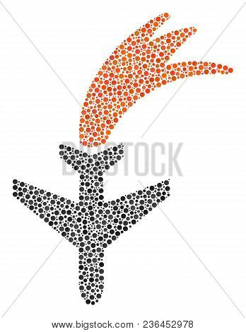 Falling Airplane Collage Of Small Circles In Different Sizes And Color Hues. Round Dots Are Composed