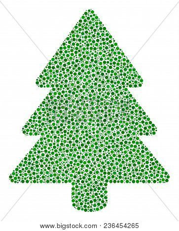 Fir-tree Mosaic Of Small Circles In Variable Sizes And Color Tones. Circle Dots Are Combined Into Fi
