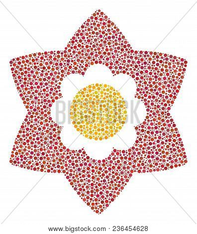 Flower Collage Of Round Dots In Various Sizes And Color Tinges. Round Dots Are Grouped Into Flower V