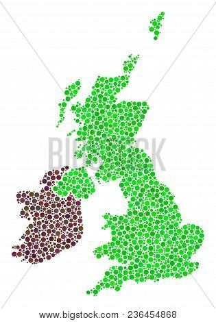 Great Britain And Ireland Map Collage Of Circle Dots In Different Sizes And Color Tints. Small Circl