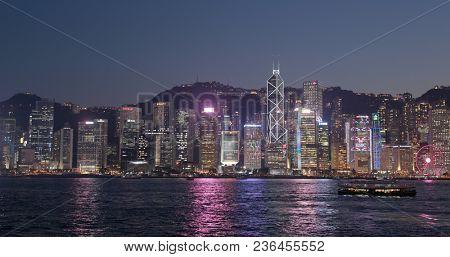 Victoria harbor, Hong Kong, 09 March 2018:- Hong Kong skyline at night