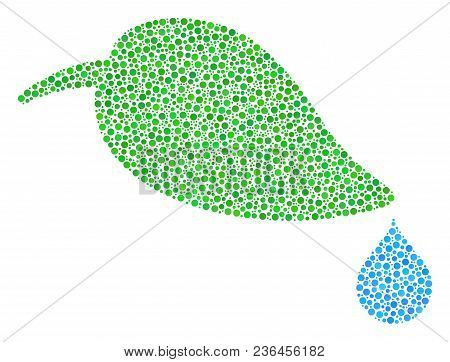 Natural Leaf With Drop Collage Of Circle Dots In Different Sizes And Color Tinges. Round Dots Are Co