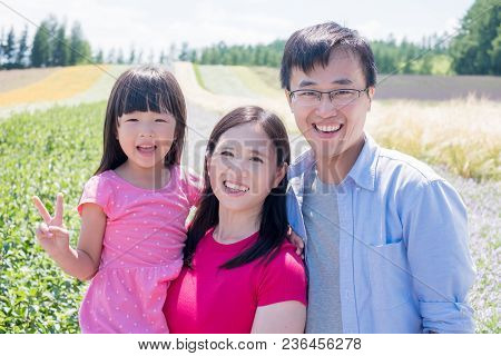 Family With Beautiful Landscape In Furano For Your Travel Concept