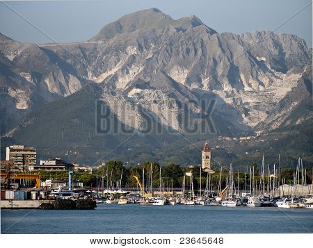 Carrara Marble Quarries Viewed From Offshore - Italy