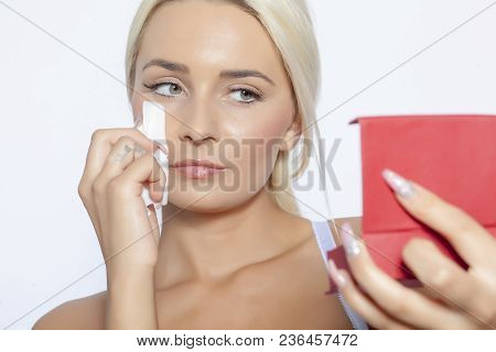 Young Woman Clean Face And Eyes With Wet Wipes, Holding Mirror, Remove Make-up, Body Breast Lingerie