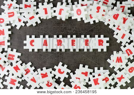 Career Path Opportunities Concept, Abundance White Puzzle Jigsaw With Alphabets Combine Word Career