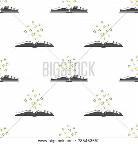 Open Book Icon With With Stars Above It. Isolated Icon Of An Open Book On White Background. Vector I