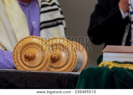 Barmitzvah Reading Torah Scrolls Near Western Wall In Holy In The Synagogue Of Orthodox Jews Wearing