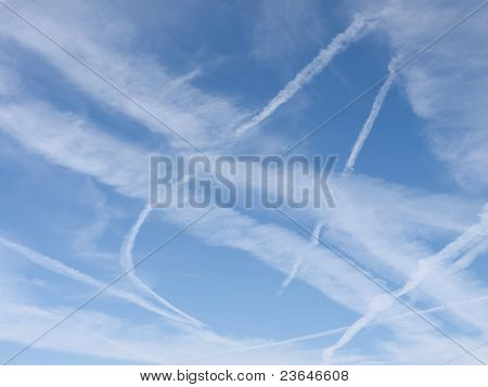 Sky With Many Different Contrails Aka Vapour Trails
