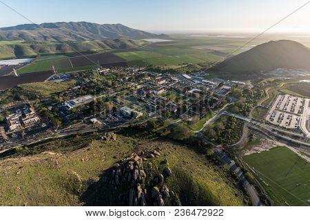 Camarillo, California, USA - March 26, 2018:  Aerial view of California State University Channel Islands and rural farm fields near the pacific coast in scenic Ventura County.