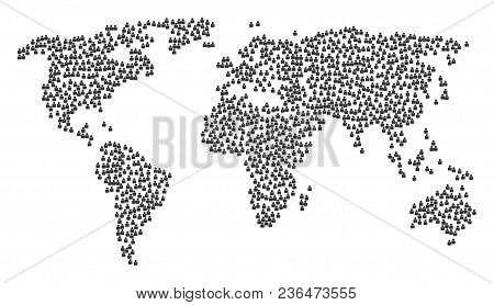 Global Composition Map Created Of Person Icons. Vector Person Scattered Flat Items Are Combined Into